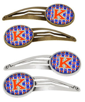 Letter K Football Green, Blue and Orange Set of 4 Barrettes Hair Clips CJ1083-KHCS4