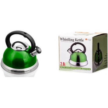 Imperial Home 1931177 Stainless Steel Whistling Tea Kettle Green & 2.8 - Case of 12