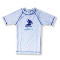 Azul Swimwear Azul Unisex Little Kids White Short Sleeve Solid UPF 50+ Rash Guard 4/5