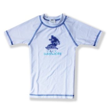 Azul Swimwear Azul Unisex Little Kids White Short Sleeve Solid UPF 50+ Rash Guard 4/5