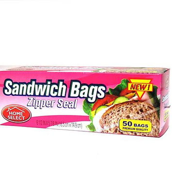 Home Select Snack Bags, Zipper Seal, 50 Ct