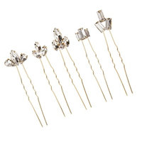 Baoblaze 5 Pieces Wedding Bridal Hair Pins Bling Girls Clear Crystal Rhinestones Headpiece