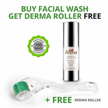Keeva Organics Clarifying Acne Treatment Face Wash with FREE Derma Roller - Organic Tea Tree Oil, Aloe Vera & Essential Oils