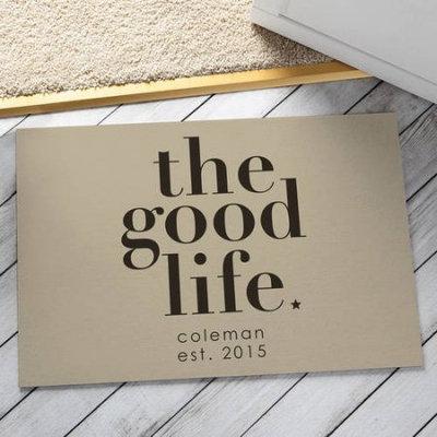 Personalized The Good Life Doormat, Cream