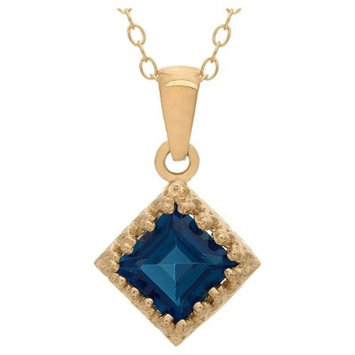Tiara Gold Over Silver Princess-cut Birthstone Crown Pendant