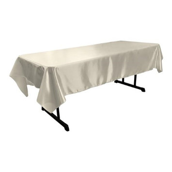 LA Linen Bridal Satin Rectangular Tablecloth, 60 by 102-Inch, White