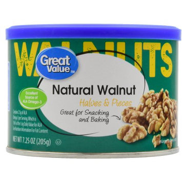 Wal-mart Stores, Inc. Great Value Natural Walnuts Halves & Pieces, 7.25 oz