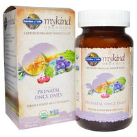 Garden of Life Organic Prenatal Multivitamin Supplement with Folate - mykind Prenatal Once Daily Whole Food Vitamin, Vegan, 90 Tablets [Once Daily Prenatal]