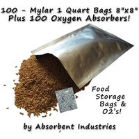 Dry Packs Dry-Packs Mylar Bags & Oxygen Absorbers for Dried Food & Long Term Storage, 100 - 1 Quart