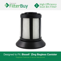 Bissell Dirt Bin Filter. Designed by FilterBuy to replace part # 203-1532 (2031532). Fits Bissell Zing Bagless Canister Vacuum.