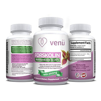 Venu Beauty All-Natural Forskolin - 60 Veggie Capsules with Pure Forskolin Extract -Dietary Supplement for Fast Weight Loss, Boosted Metabolism & Healthy Blood Pressure