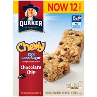 Quaker Chewy 25% Less Sugar Chocolate Chip Granola Bars, 0.84 oz, 12 count