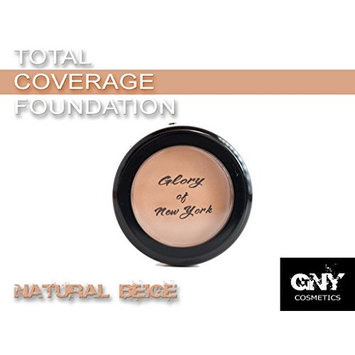Glory Of New York Total Coverage Foundation GNY, 1 Ounce, MADE IN USA (Natural Beige)