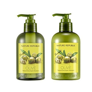 Nature Republic Natural OLIVE Hydro Shampoo & Conditioner SET for Thickening Hair and Preventing Hair Loss