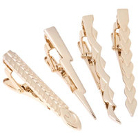 BMC 4pc Stainless Steel Lightning Warrior Themed Tie Clip Set - Shiny Gold (Pack of 4)