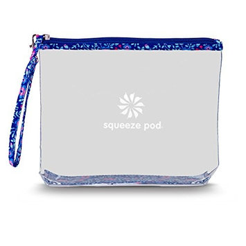 Clear Travel Bag with Heavy Duty Transparent Plastic Pouch, Zipper & Carry Strap - Water Resistant Great for Day Trips, Beach, Pool or Sporting Events. Stands Up for Easy Loading – Flower Trim CTBMSF