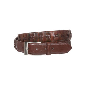 Men's 1 1/4 Inch (34 mm) Embossed Alligator Texture Braided Genuine Leather Dress Belt