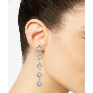 Gold-Tone Crystal & Imitation Pearl Linear Drop Earrings