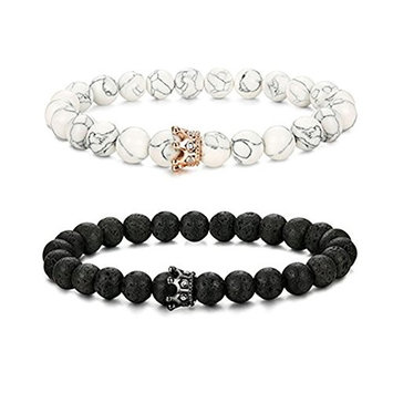 King&Queen Crown Couple Essential Oil Aromatherapy Black Matte Agate & White Howlite Lava Rock Bracelet His and Her Friendship 8mm Beads
