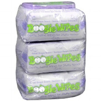 Boogie Wipes Gentle Saline Wipes for Stuffy Noses, 3 Pack Great Grape