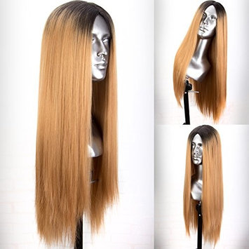 Persephone Ombre Blonde Synthetic Wigs Dark Roots Full Machine Made Honey Blonde Wig Straight Heat Resistant 22 Inches