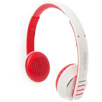 RUN NYC Headset - Stereo - White, Red - Mini-phone - Wired/Wireless - Bluetooth - 32.8 ft - 20 Hz - 20 kHz - Over-the-head - Binaural - Circumaural