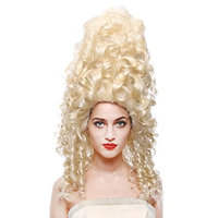STfantasy Tall Beehive Wig Blonde Curl Kinky Long for Women Costume Party Hairpiece 25