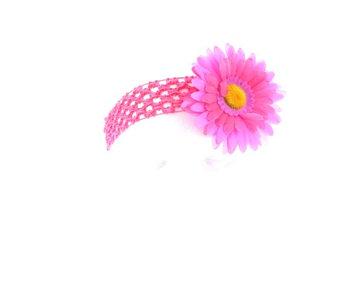 Mozlly Hair Accessory Lavender and Hot Pink Two-Tone Daisy Flower Crochet Headband
