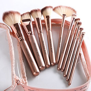 Makeup Brush Set Professional Cosmetic Brushes 10Pcs Kabuki Foundation Face Powder Blending Blush Brush Eyeliner Makeup Brush Kit with Bag