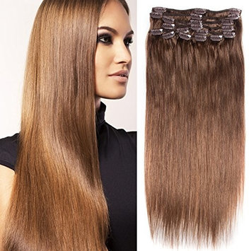 RECOOL Brazilian Hair Straight 10 Pieces For Sale Clip in Hair Extensions Human Hair Silky Straight 100 Gram(18 inch, P18/613)