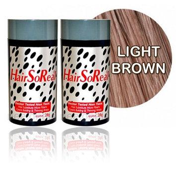 Hair So Real, HSR Hair Building Fibers, Hair Loss Concealer (2 of Hairsoreal 28g bottle) (Light Brown)