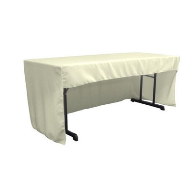 LA Linen TCpop-OB-fit-72x30x30-IvoryP25 1.95 lbs Open Back Polyester Poplin Fitted Tablecloth Ivory