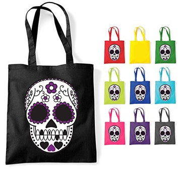 Mexican Sugar Muerte Skull Tattoo Cotton Tote Shoulder Bag Lime Green [Lime Green]