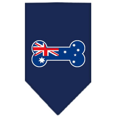 Mirage Pet Products 6609 SMNB Bone Flag Australian Screen Print Bandana Navy Blue Small