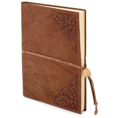 World Tan Embossed Italian Leather Lined Journal with Bead Tie (6'x8