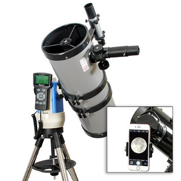 Twin Star New Silver 6in. Telescope w Advanced Computerized Star Finding and Universal Smartphone Camera Adapter