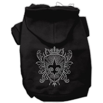Mirage Pet Products 12-Inch Rhinestone Fleur De Lis Shield Hoodies, Medium, Black