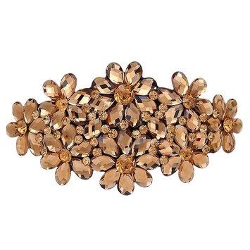 AENMIL Woman's Headwear Acrylic Hair Clip Diamond Crystal Hairpin Upscale Flourishing Hair Accessories - Caffee