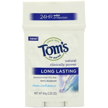 Tom's of Maine Long Lasting Mens Stick Deodorant, Clean Confidence, 2.25 Ounce