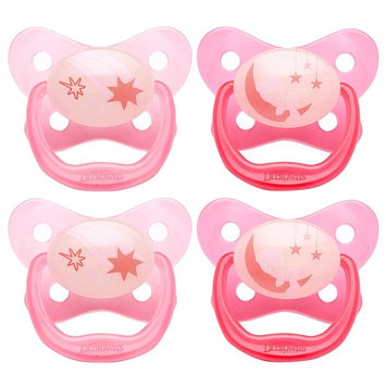 Dr. Brown's PreVent Contour Glow in the Dark Pacifier, Stage 3 (12m+), Pink, 4-Count