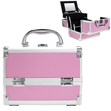 Pagacat Portable Locking Makeup Train Case Professional Cosmetic Carrying Box with Mirror(US STOCK)