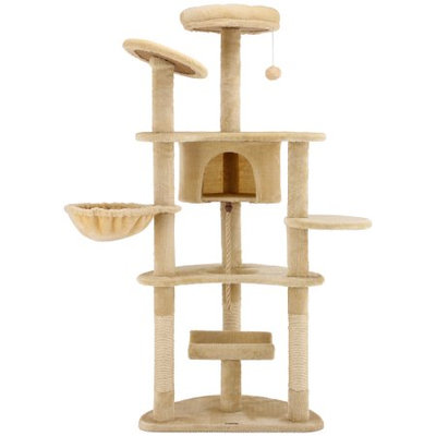 Ollieroo Cat Tree Furniture Tower Climbling Activity Tree Scratcher Play House Condo Hammock with Scratching Post and Toys 60