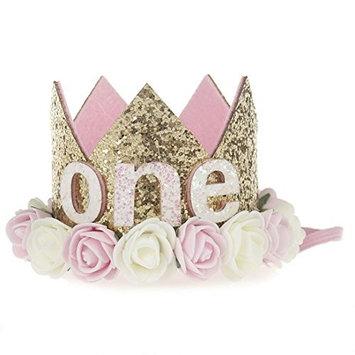 Bluelans Newborn Baby Girl Shiny Sequins Gold Crown Rose Flower Headband 1st Birthday Party Festival Headwear Hair Accessories