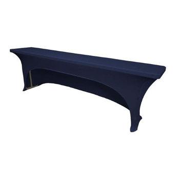 LA Linen TCSpandex-OB96x18x30-NavyX72 Open Back Spandex Tablecloth for Classroom Tables Navy - 96 x 18 x 30 in.