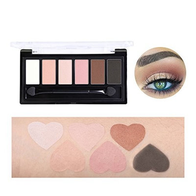 Bonniestore Eyeshadow Palette 6 Colors Nude Eye Shadow Powder Pigmennt Natural Bronze Neutral Smoky Make Up Waterproof Cosmetics Set