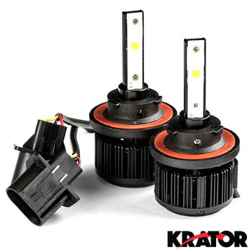 Krator LED H13 Headlight Conversion Bulbs 40W 4000LM Light Bulbs 9008 Hi/Lo 6000K White with Built-In Turbo Cooling Fan for 2005-2016 Ford F250-F550