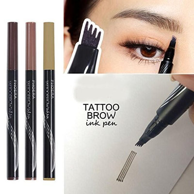 Ownest Liquid Tattoo Eyebrow Pen With Four Tips Brow Pen, Long-lasting Waterproof Brow Gel for Eyes Makeup-BLACK/BROWN
