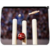 Close Up Of Cricket Ball Sat On Grass Black Large Messenger School Bag [Close Up Of Cricket Ball Sat On Grass]