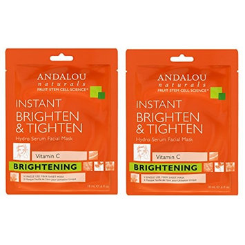 Andalou Instant Brighten & Tighten Hydro Serum Facial Mask with Tamarind and White Tea Extract.28 fl. oz. (Pack of 2)