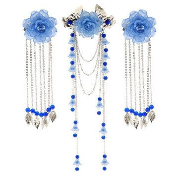 MonkeyJack 3 Pieces Costume Classic Flower Hair Clip Barrette Long Tassel for Hanfu COS Hair Ornaments - Blue